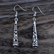 Tibetan Silver Color Hollow Carved Pillar Dangle Fashion Vintage Earrings For Women Gift Jewelry