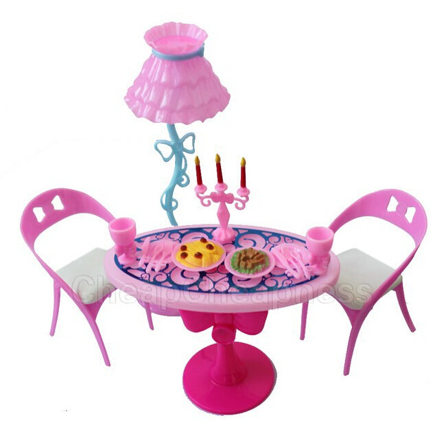 Toy Vintage Furniture - lamp Chair - Tableware Food - Play Set - Best Gift - Lovely Dolls for Children