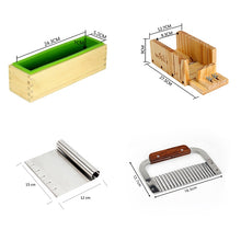 Silicone Mold Soap Making Tool Set-4 Adjustable Wooden Loaf Cutter Box 2 Pieces Stainless Steel Blades for DIY Handmade