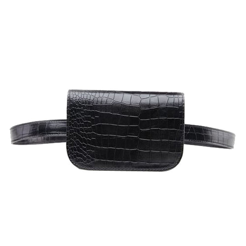 Vintage Waist Bag Women Alligator PU Leather Belt Bag Travel Belt Wallets Bags Ladies Fit 5.5 inches