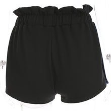 Side Button Split Shorts Women's Summer Black Patchwork High Waist Shorts