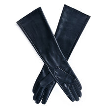 Women's Faux Leather Elbow Gloves Winter Long Gloves Warm Lined Finger Glove