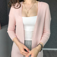 Women top spring summer V neck solid sweater Thin Cardigan Long Sleeve Open Front 3/4 sleeve jacket coat