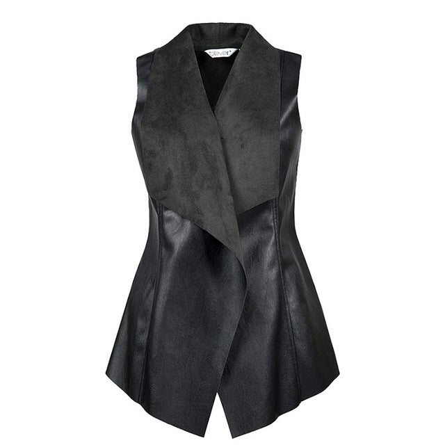 Women's Casual Black Cotton Leather Vest Female Autumn Streetwear Gilet Vests Coat Jacket Women Waistcoat