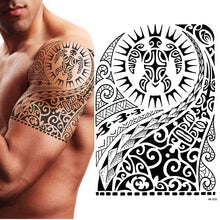 TEMPORARY TATTOO, MAORI TURTLE, POLYNESIAN, BLACK, MENS, WOMENS