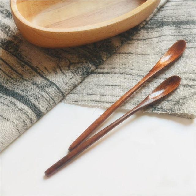 Wooden Spoons For Cooking Honey Server Tea Coffee Stirring Spoons 2pcs/lot