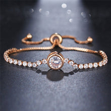 New Round Tennis Bracelet For Women Rose Gold Silver Color Cubic Zirconia Charm Bracelets & Bangles Jewelry