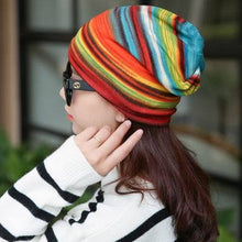 New Arrival Women's Fashion Accessories Autumn Winter Caps Hat Colorful Striped Scarf Beanies Multi Use - sellhotproducts
