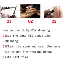 Tattoo Stencil 1Pcs Pro Black Color Indian Henna Paste Cone Beauty Women Finger Body Cream Paint DIY Drawing