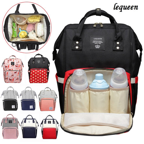 LEQUEEN Fashion Mummy Maternity Nappy Bag Travel Backpack Stripe Mummy Maternity Diaper Large Capacity Nursing Bag