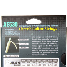 Original ALICE AE530 Hexagonal Core Electric Guitar Strings 1st-6th Light Super Light Extra Light Nickel Alloy Wound Full Set
