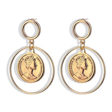 Vintage Avatar Coin Pendant Metal Drop Earrings Punk Gold Alloy Dangle Earring for Women Statement Jewelry