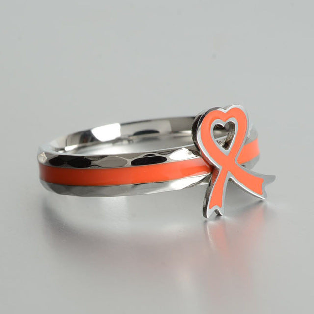 Stainless steel rings orange/gray Purple nowknot ring take care of Autism child special rings