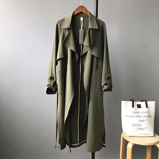 Spring Women Long Coat Turn Down Collar Harajuku Women Army Coat
