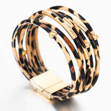 Leopard Leather Bracelets Fashion Bracelets & Bangles Elegant Multilayer Wide Wrap Bracelet Jewelry