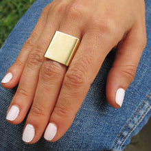 Punk Big Square Wide Rings For Women Fingers Gold/Silver Color Trendy Statement Ring Jewelry