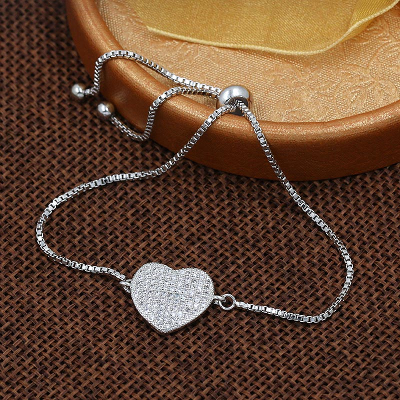 Silver Color Plated Micro Pave Setting Cubic Zirconia Heart Bracelets for Women Shinning CZ Zircon Jewelry