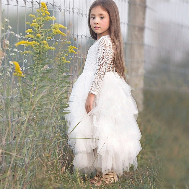 Toddler Kids Baby Girls Summer White Dresses Long Sleeve Party Prom Costume Girl Pageant Dancing Frocks Lace