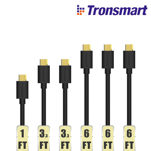 Tronsmart MUPP8 Micro USB Cables 6 Pack (1ft*1+3.3ft*2+6ft*3) with Gold connector Fast Speed - Merimobiles