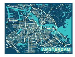 Amsterdam City Map Mural Wallpaper