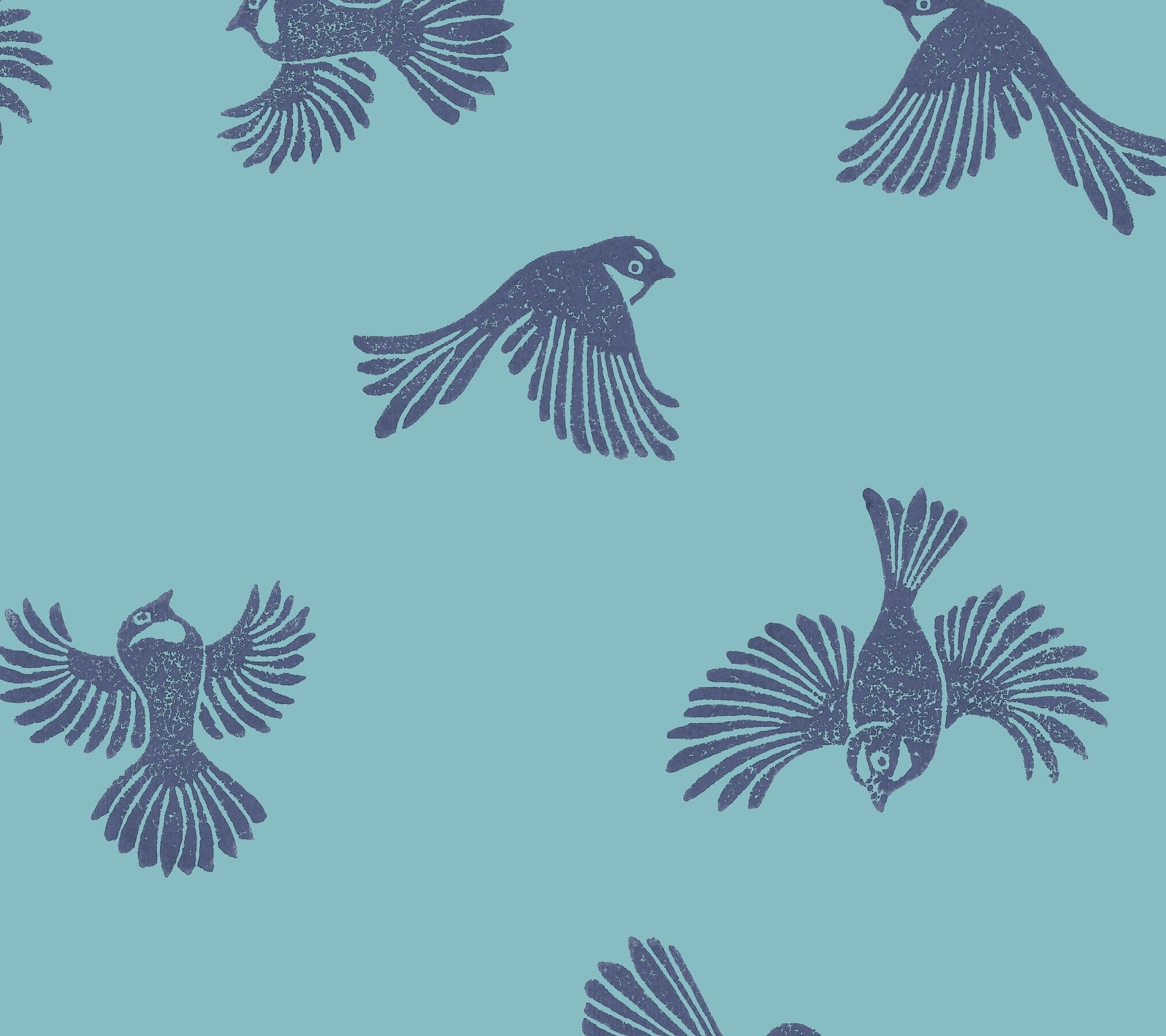 Fantail Wallpaper - Blue