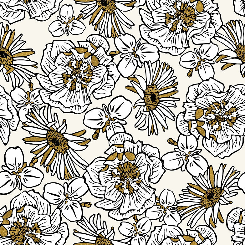 White/Gold/Black Wallpaper - Mackenzie Country