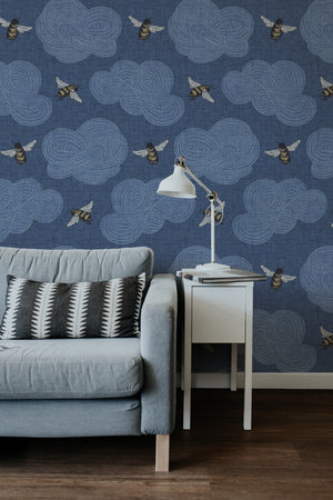 Bee Wallpaper - Inky Blue - Large Scale Bee