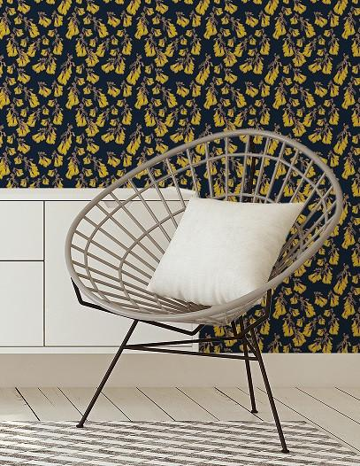 NZ Floral Wallpaper - Yellow/Navy