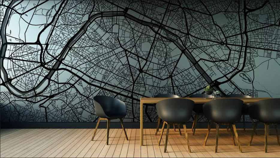 City Map Art Murals -Wallpaper