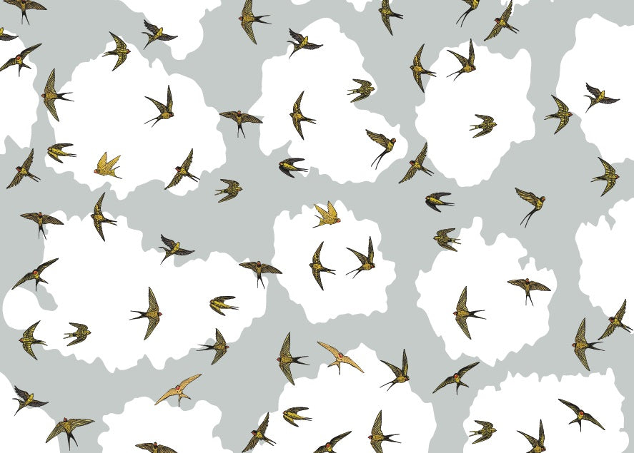 Swallow Wallpaper - 2.8 H x 3.15 Wide Wall
