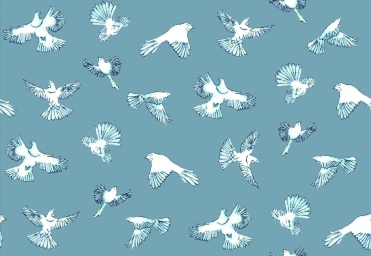 Dawn Chorus - Teal wallpaper and fabric