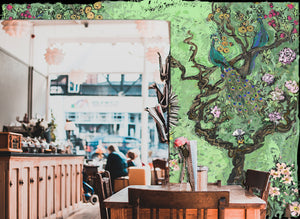 Cool Cafe - Chinoiserie Peacock Wallpaper