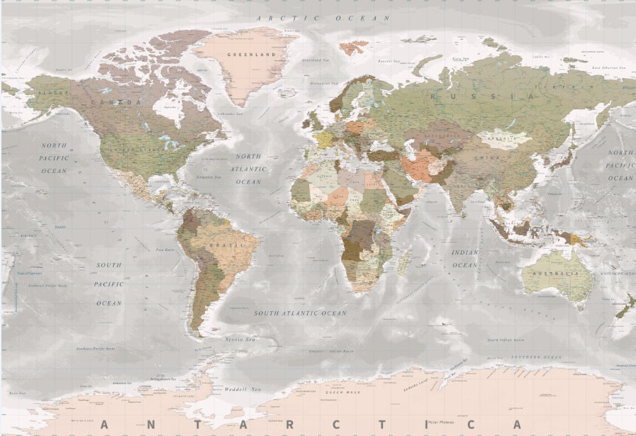 World Map Mural - Sepia/Grey