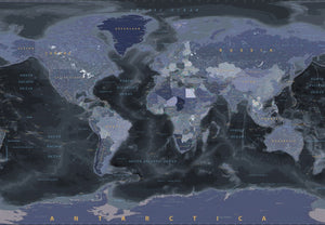 Black and Blue World Map Wallpaper