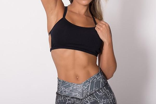 stylish women's black sport bra