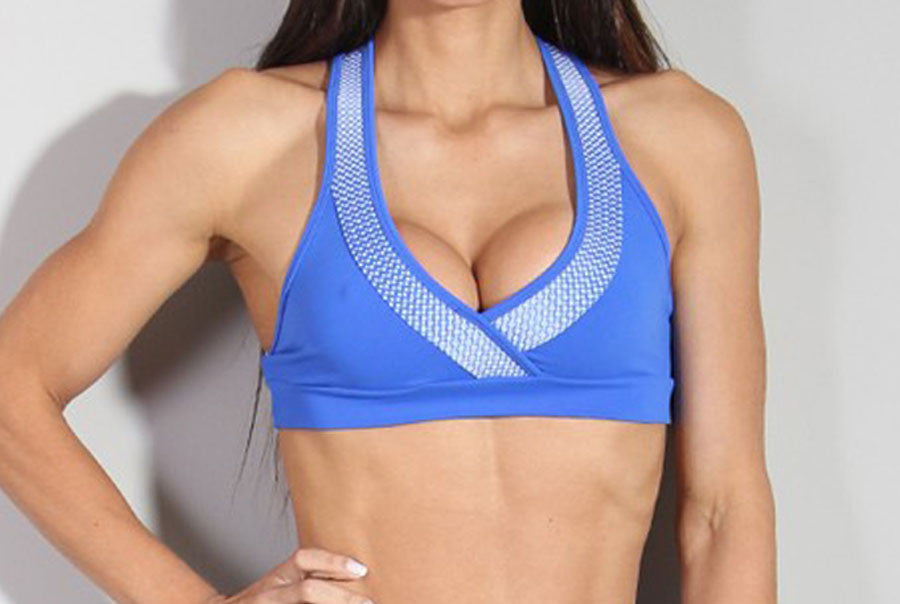 blue supportive sport bra