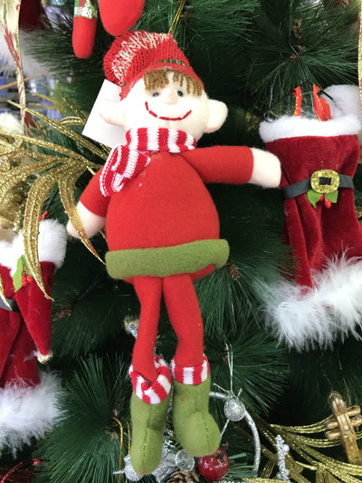 Christmas Santa Helper Elf Doll with Jingle Bell Tree & Home Decoration