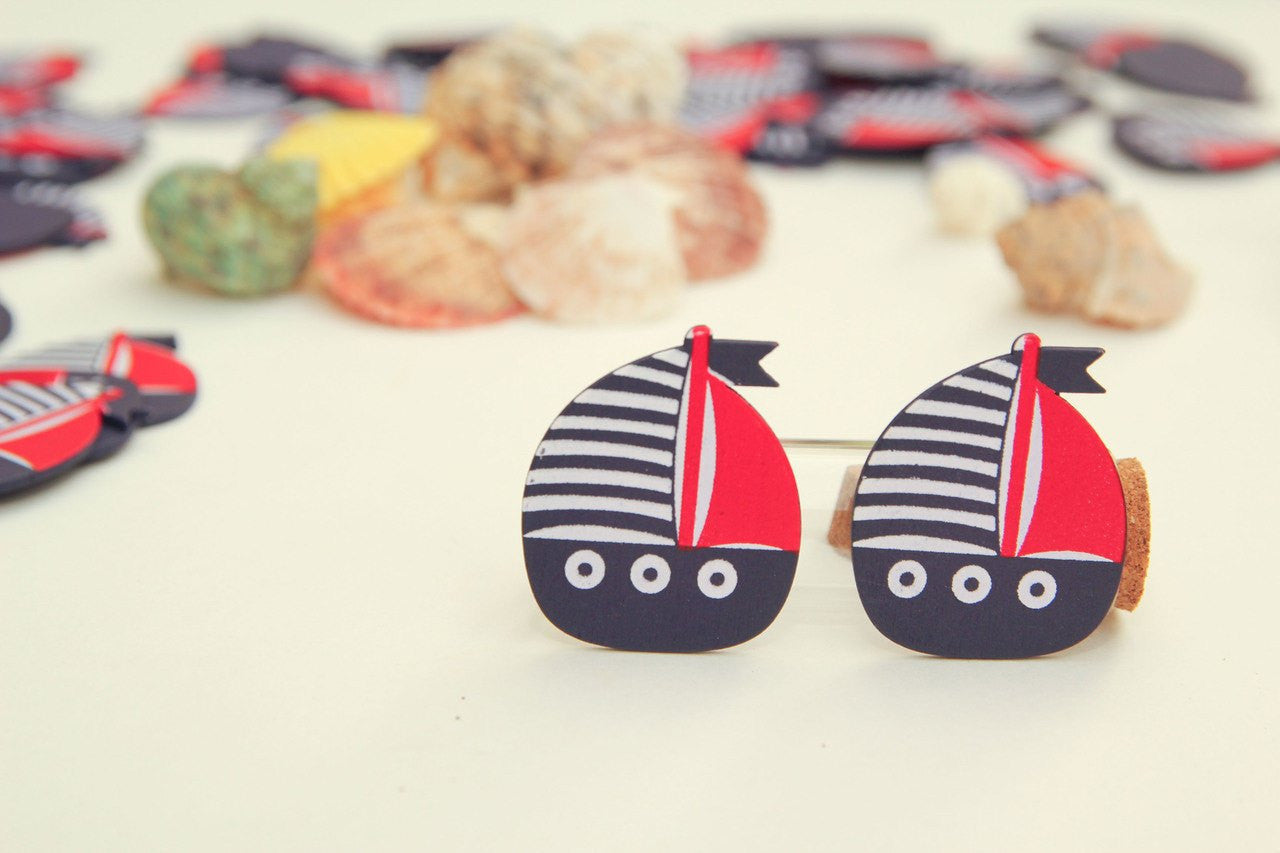12 pcs-Mini Wooden Boat