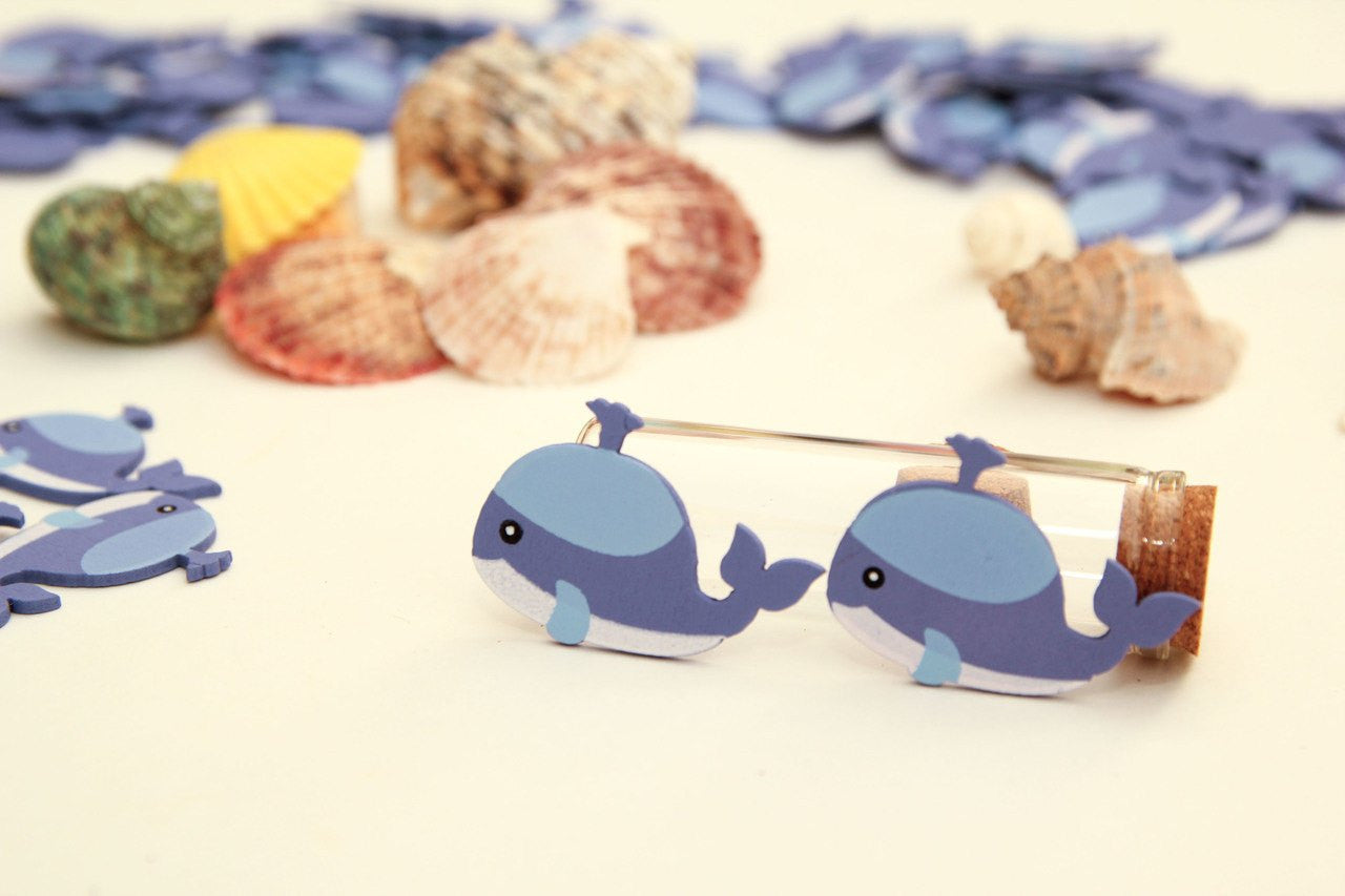 12 pcs- Mini Wooden Whale