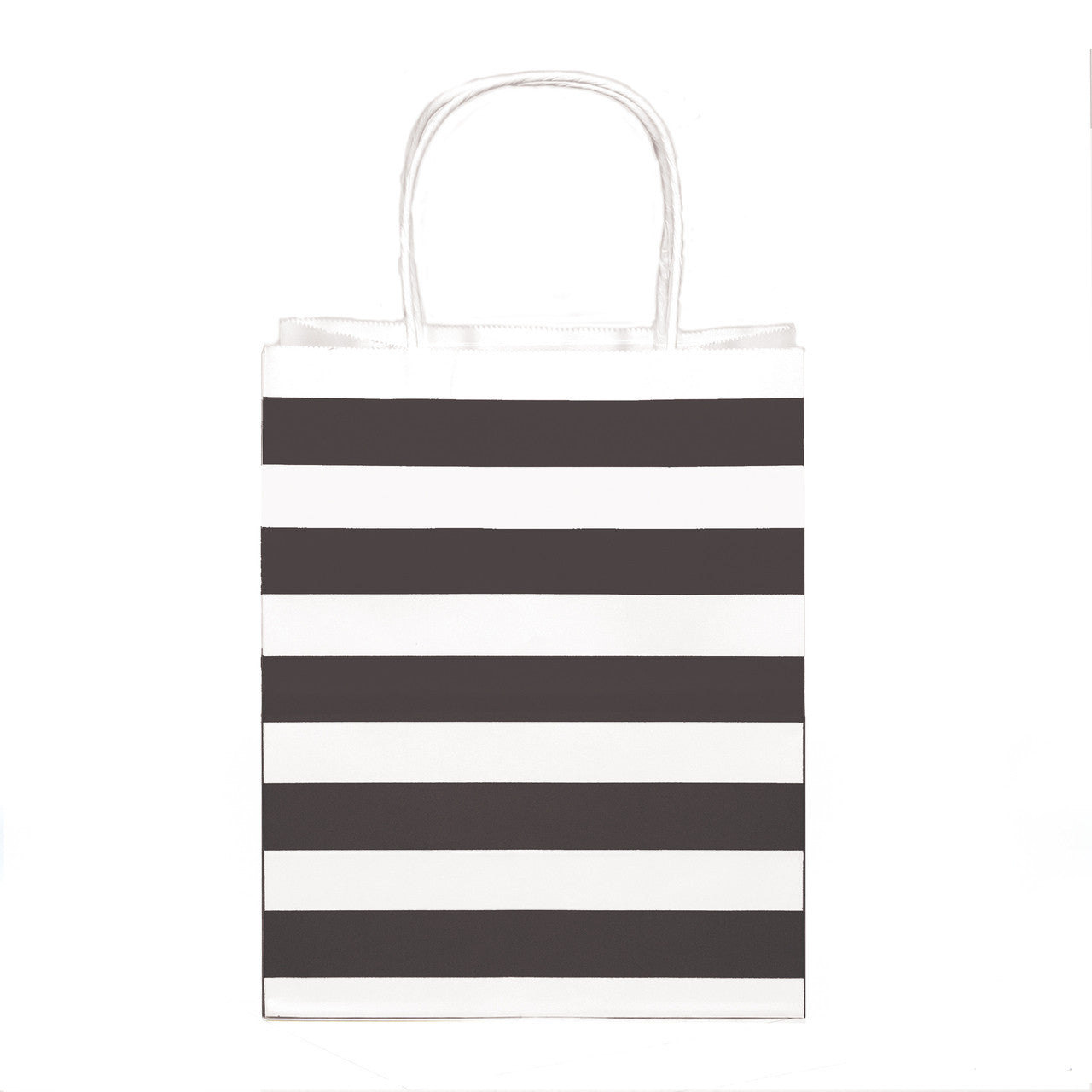 "12 pcs- Stripe Black Kraft Bag 8"" x 10"""