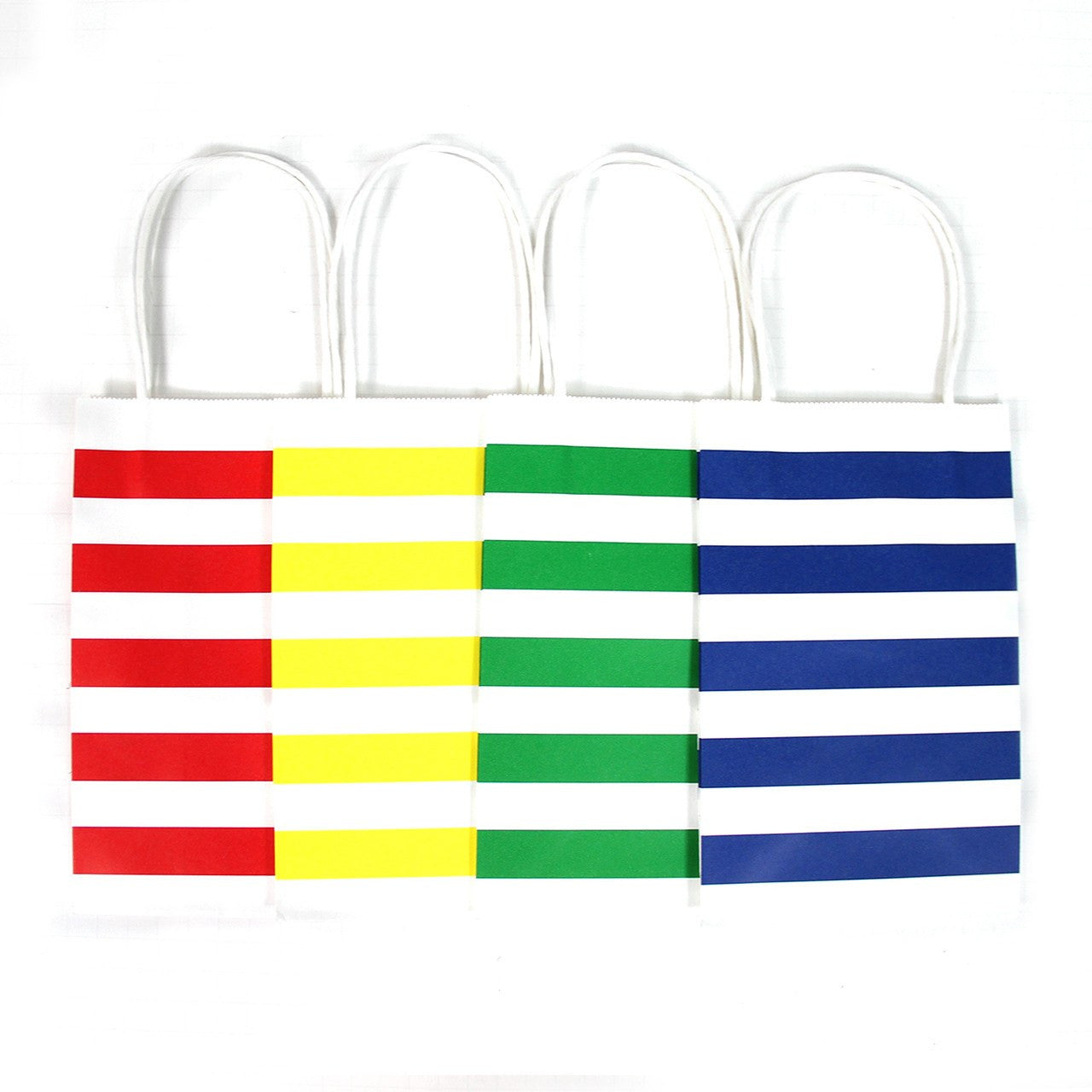 "12 pcs- Stripe Assorted Primary Color Kraft Bags 8"" x 10"""