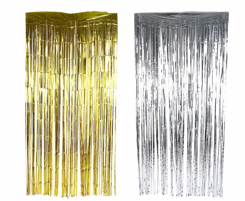 32 Ft X 98 Metallic Tinsel Foil Fringe Curtains For Party Photo Backdrop 1