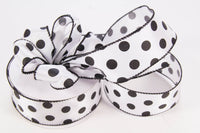 "25 yds, 1.5"" Satin Polka Dot Ribbon (Wired) - Americasfavors"