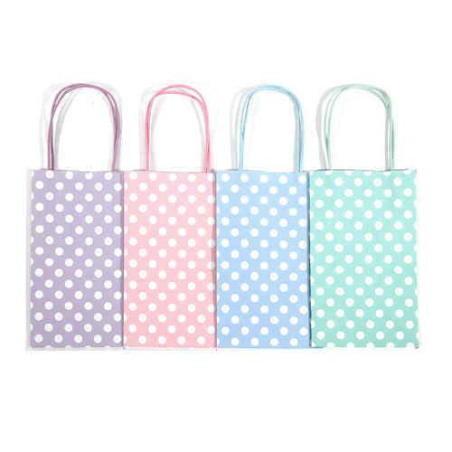 "12 pcs- Polka Dots Assorted Pastel Color Kraft Bags 8"" x 10"""