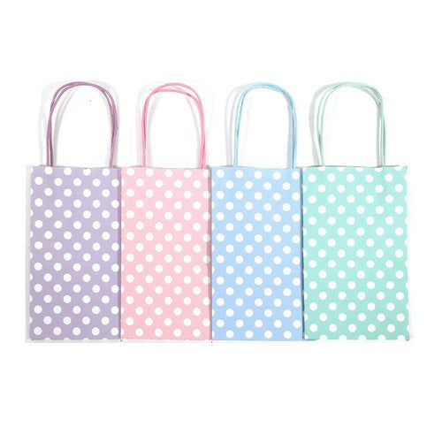 "12 pcs- Polka Dots Assorted Pastel Color Kraft Bags 5"" x 8.25"""
