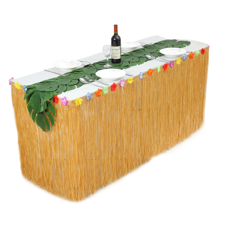 9 ft Hawaiian Luau Table Skirt Yellow Grass Table Skirt  with Hibiscus Tropical Leaf Grass Table Runner