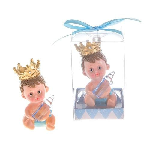 1 pc-Blue Crown Baby with  Bottle Poly Resin