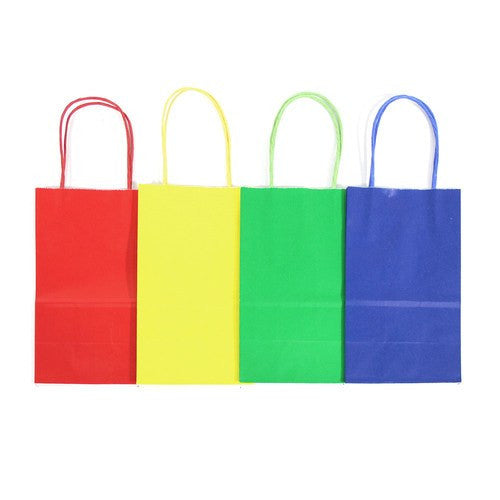 "12 pcs- Assorted Primary Color Kraft Bags 8"" x 10"""