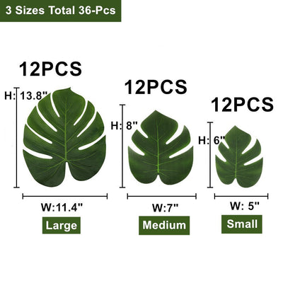 36 pcs, 3 Sizes Artificial Silk Fabric Monstera Decoration Leaves
