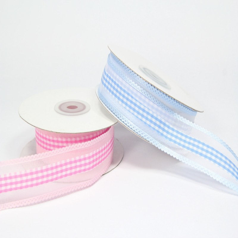 "10 yds, 1.5""-Gingham w/ Satin Loops Ribbon"